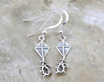 Sterling Silver Kite Dangle Earrings on Sterling Silver Ear Wires -0911