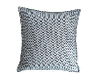 Black and white herringbone woven textile square pillow