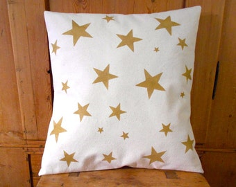 Stars Pillow Cover Golden Stars Pillow Cover Hand Printed Gold Stars