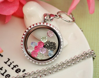 Mothers Day family tree floating locket with birthstone crystals UK
