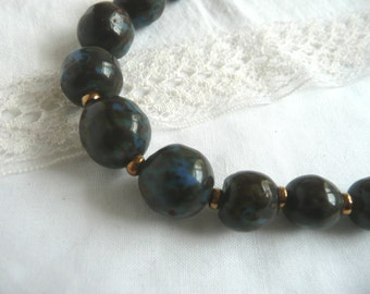Vintage glass bead necklace - blue glass bead necklace - blue and gold bead necklace - antique blue glass bead necklace -