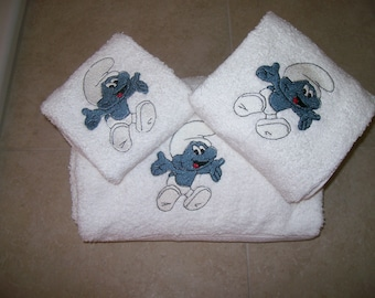 Smurfs 3 Piece Emboidered  Towel Set-Personalized Bath,Hand,Wash Cloth