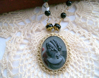 Midnight Cameo Necklace - Vintage - Recycled - Black - Gold