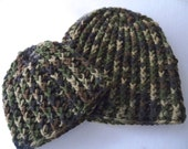 Crochet Daddy and or Baby Boy camouflage hats