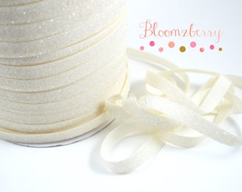 """3/8"""" Glitter Elastic  - Ivory Color - Frosty Ivory Glitter Elastic - Ivory Velvet Glitter Elastic - Ivory Elastic Hair Accessories Supplies"""