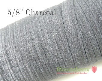 "5/8"" Fold Over Elastic - Charcoal Color  - Charcoal  Elastic Fold Over - Coal Elastic Fold Over - Plain Elastic - Hair Accessories Supplies"