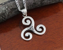 Triskelion Necklace With trinity, Sterling silver Triskele Necklace, Triple Spiral Pendant, Celtic Jewelry, Athletes
