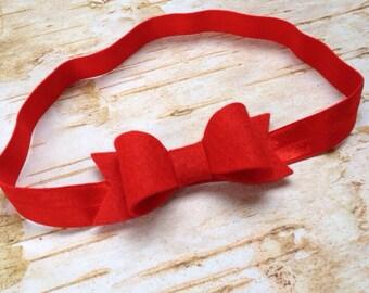 Red Felt Bow Headband. Baby Felt Headband. Infant, Toddler Headband.  Photography Headband
