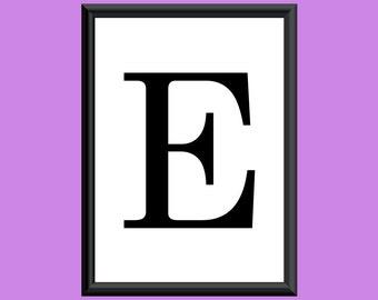 Typography DIGITAL PRINT Monogram Initial Wall Art Century Letter E 5x7