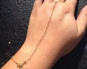 RESERVED FOR STACEY Gold Filled Finger-to-Wrist Bracelet with Vermeil Finding