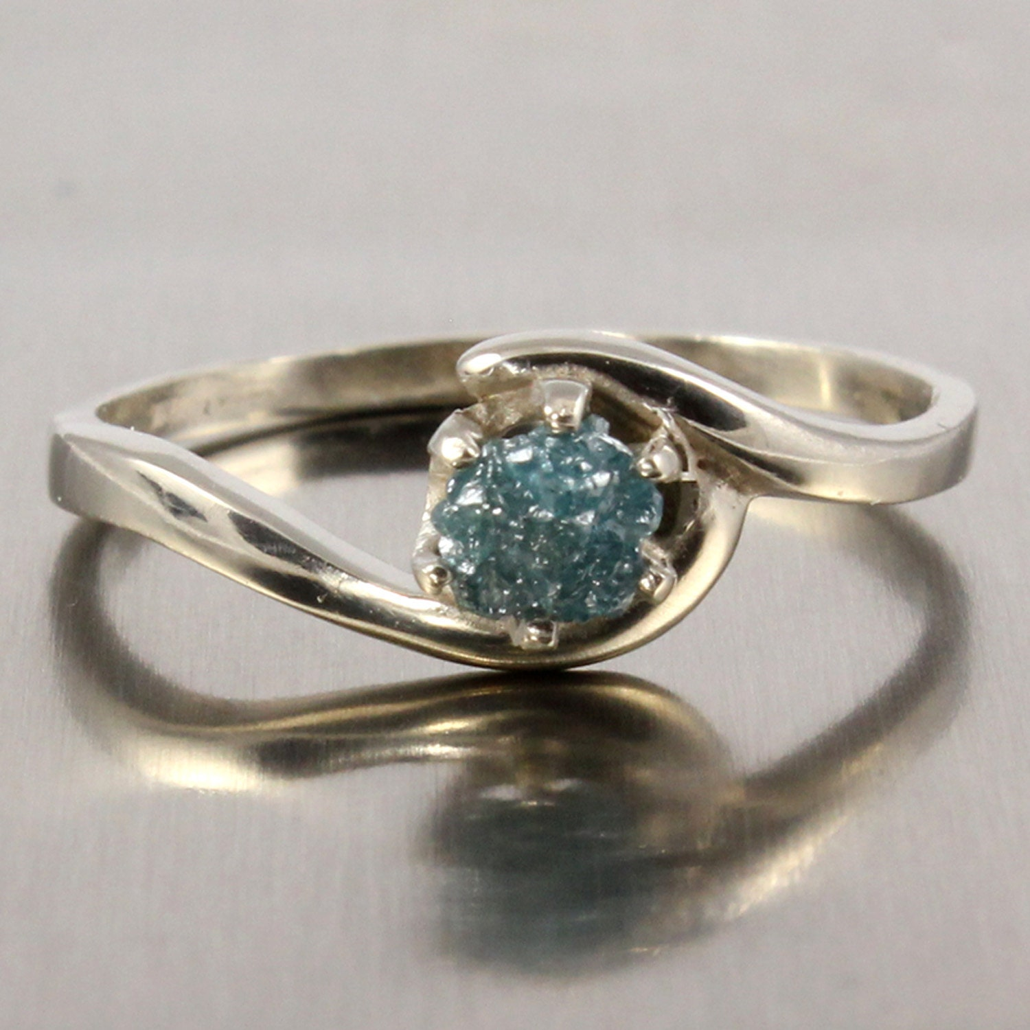 Blue Raw Rough Diamond Ring 14K White Gold Engagement Ring