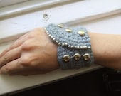 Trendy Crochet Cuff Military Style Angora, Wool and Bamboo Cuff With Silver Colored Studs and Beads