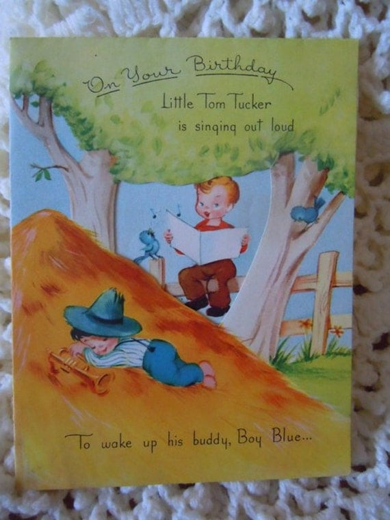 die cut happy birthday card vintage nursery rhyme greeting