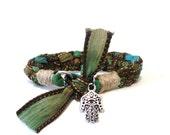 Hamsa, Silk Ribbon, Bracelet, Hand of Fatima, Yoga Jewelry, Earthy, Fall, Autumn, Origina,l OOAK, Hemp, Yogi Gift, For Her Christmas