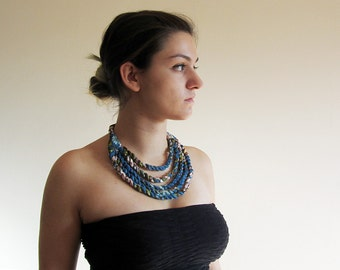 Tribal rope necklace, blue vintage fabric, upcycled recycled repurposed, statement bib necklace, OOAK summer festival accessories for her.