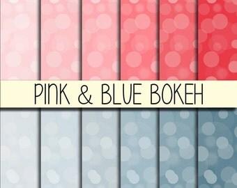 PINK & BLUE Bokeh - Instant Download - Set of 12 Papers - 12x12 inch - Digital Paper Pack - Scrapbook, Web design, Card making