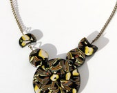 Black Necklace Abstract Design Multicolour Pattern OOAK Jewellery