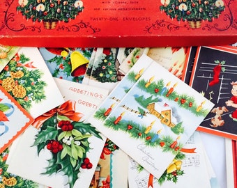 1955 Boxed Unused Christmas Cards - Beautiful Illustrations