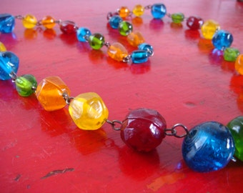 Vintage Multicolor Moulded Glass Beads Bead Necklace Flapper Deco Beads