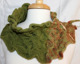Knit and felted Forest and Rose Wave Collar