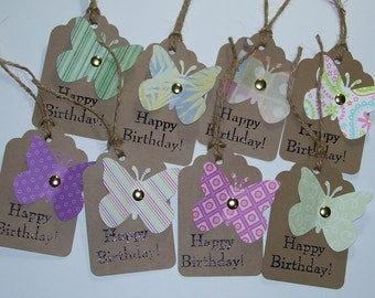 Happy Birthday Gift Tags, Set of 8 Handmade Gift Tags