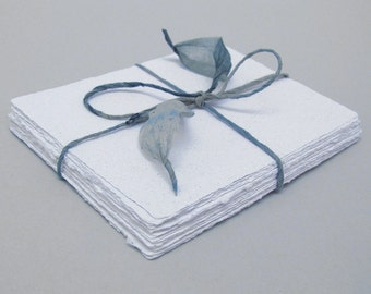 White handmade paper, recycled, deckle edge, 10 small sheets, 5.5 x 4.25 inch
