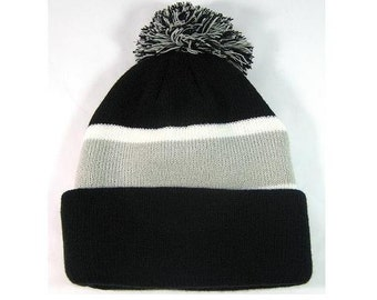 Personalized Throwback Beanie Skull Cap Pom Custom Grey and Black Stripe