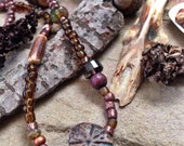 A song of the earth - Smokey quartz, rustic wood, and Artisan clay bead strand necklace