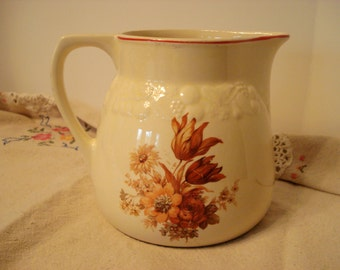 Vintage Pitcher Crooksville Pantry Bak-In by Ware Harvest Autumn Fall Pattern Retro Shabby Cottage Chic