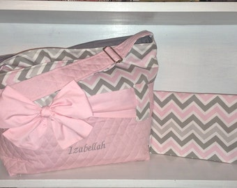 Personalized Diaper Bag Set In Grey, White & Light Pink Chevron.  Choose your set style. Interchangeable Sash/Bow.