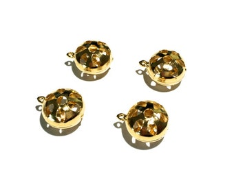 4  Gold Metal Bead, Gold Plate, 10mm