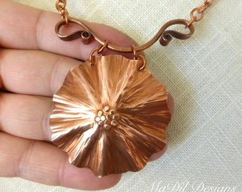 Flower Formed Copper Necklace Hand Forged Hand Made Hook Clasp Sunflower OOAK
