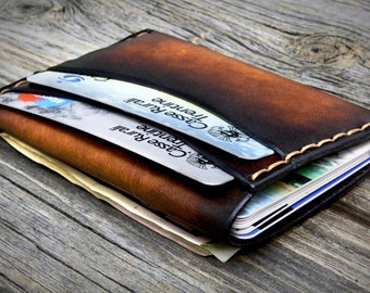 Mens Leather Wallet, FUNCTIONAL and SLIM, Minimalist Leather Wallet,Original design, practical and thin, Handmade in Italy, Genuine Leather