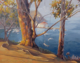 Avalon - Catalina - Plein Air - Original Oil Painting - Island - Casino - California - Landscape - Seascape - Swing - Trees - Ocean - Sea