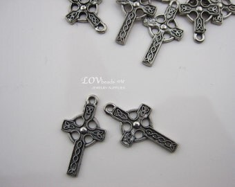Cross charm, Antique Pewter cross charm, 24mm x 15mm, Single sided celtic cross, 2pc