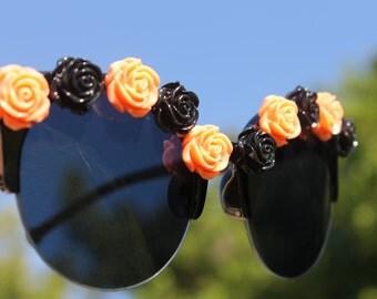 Orange and Black retro flower sunglasses