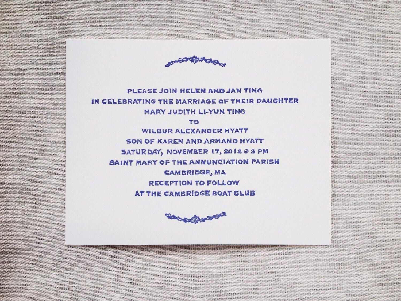 Custom Wedding Invitation Rubber Stamp Wythe Laurel