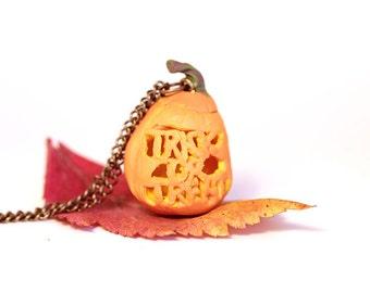 Pumpkin Necklace: Halloween Necklace-Fall Jewelry- Autumn- Orange Necklace