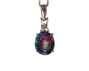 Vintage color change mystic topaz and genuine diamond pendant in solid 14 kt white gold