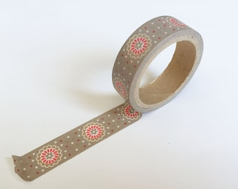 Grey and Pink Floral Washi Tape . 15mm single roll