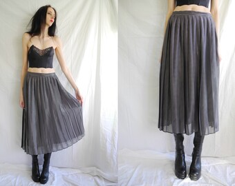 90s black and silver metallic stripe high waisted pleat maxi skirt.