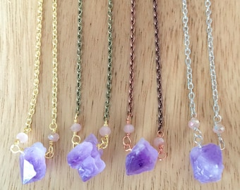 Small Amethyst Chunk Necklace // Layering Necklace // Raw Amethyst