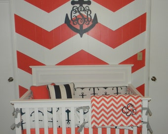 Coral and Navy Nautical Crib Set-Several ordering options listed in the description-10% off with coupon code sale10