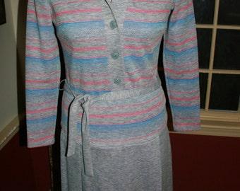 Vintage Knit Grey Dress/ Vintage Belted Dress