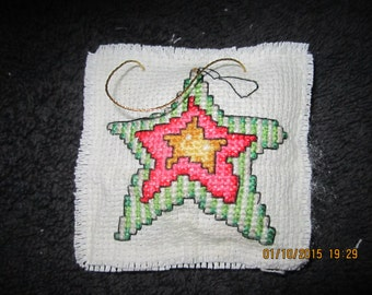 Folk Art Christmas Star Pillow Christmas Tree Ornament
