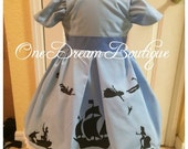 Peter Pan Wendy inspired silhouette dress size 2-15 toddler to tween teen