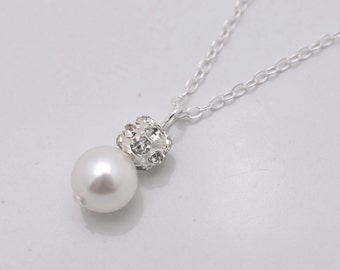 Pearl and Rhinestone Necklace, Pearl Crystal Bridesmaid Necklace, Pearl Pendant Bridal Necklace, Sterling Silver Chain 0192