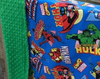 Superhero minky toddler blanket