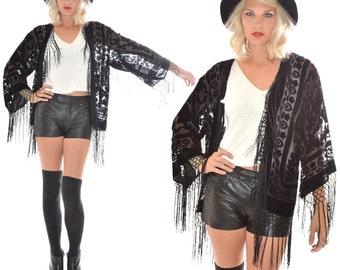 Silk Burnout Velvet Fringe BLACK Hippie Boho Gypsy Festival Kimono Jacket