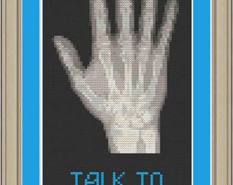 Talk to the hand: funny x-ray cross-stitch pattern